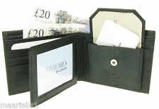 WALLET MENS BLACK QUALITY SOFT LEATHER CREDIT CARD HOLDER GIFT BOX UK NEW BR200