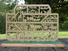 Noah's Ark Bible Story Scrolled Wooden Ark Display Amish Made  USA