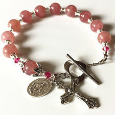 UNDOUBTED strawberry quartz  BEADS BRACELET ROSARY CROSS Sterling Silver flower