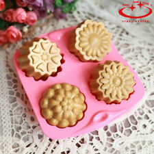 4 Cavity Flower Silicone Pudding Jelly Soap Mold Fondant Cake Decorating Mould