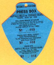 8/30/90 BUFFALO BILLS/CHICAGO BEARS FOOTBALL PRESS PASS
