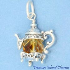 TEA POT TEAPOT with TOPAZ BROWN SWAROVSKI CRYSTAL 3D .925 Sterling Silver Charm