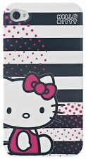 Hello kitty stripes hard case pour iPhone 4/4S - noir/blanc (100% officiel)