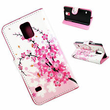 Pretty Flower Leather Stand Wallet Case Cover For Samsung Galaxy S5 S V i9600