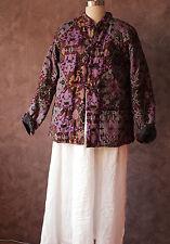 Chiense padded jacket ethnic totem print purple floral sz m grog artsy women clo
