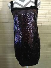 Forever 21 Black And Purple Sequined Dress With Fitted Hem Size Juniors Small