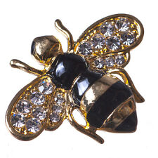 New Gold Tone Black Enamel Crystal Bee Insect Brooch in Gift Box
