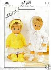 Teddy 7164 DOLLS CLOTHES & MATINEE SETS knitting pattern 4ply premature babies