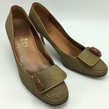 Salvatore Ferragamo Tacco Comfort Shoes Women's Kitten Heels Pumps Button 8.5B