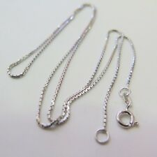 "New Authentic S925 Silver Necklace Men & Women Lucky Box Chain 0.8mmW 15.7""L"