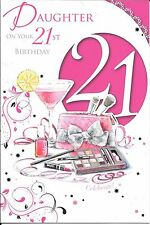 21st BIRTHDAY CARD FOR DAUGHTER  - AGE 21 - MAKE-UP, COCKTAIL