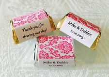 210 PINK DAMASK Personalized Candy labels/wrappers/stickers for wedding/party