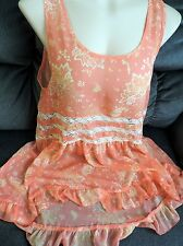 BRAND NEW FOREVER 21 DRESS Top Pink Swing Tank Floral Lace ML Long Tailed Ruffle