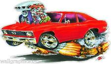 Mad Dog 1968-72 Chevy 2 Nova BBC 396 Cartoon Car Vinyl Decal Wall Graphic Cling