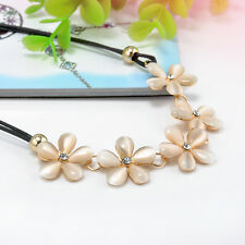 Women Fashion Crystal Flower Charming Choker Chunky Statement Bib Chain Necklace