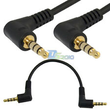 15cm DC 3.5mm TRRS 4 Pole 90° Male to Angled 3ring Male Stereo AUX Audio Cable