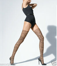 New Wolford Captive Tights Pantyhose Sahara/Black Small 18880 - 18 *RARE*