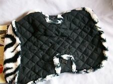 Pet Dog Puppy Coat Jacket Worm Winter Costume Snap Black Medium Zebra Trim