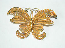 VTG Gilt Silver Vermeil Butterfly Brooch Filigree Wirework Sterling Filigrane