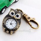 Brass Owl Pocket Pendant Watch Key Chain Keyring 1.5x1