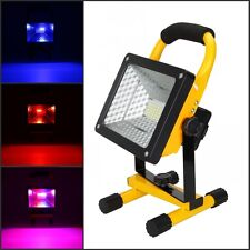 Portable Rechargeable RGB 36LED 50W Flood Spot Work Lamp Outdoor Light 3 Color