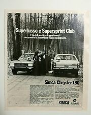 Pubblicità 1972 AUTO SIMCA CHRYSLER CAR advertising werbung publicité reklame