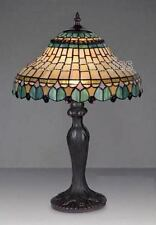 "IDEAL CHRISTMAS GIFT-PEACOCK TIFFANY STYLE HANDCRAFTED GLASS TABLE LAMP 12"" WIDE"