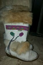Womens Fur TECNICA Indian Southwest Boots Sz 38 EU