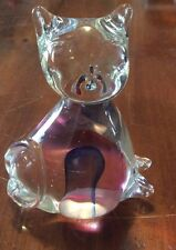 Vintage Hand Blown Clear Glass Cat kitten figurine colored glass