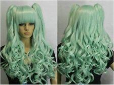 Lori Split Type Light green Mix Long Wavy Lolita Cosplay Wig Ponytail + Hairnet