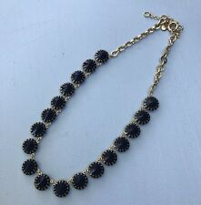 J Crew Necklace Authentic Blue Crystal Rhinestone Jewelry Gold Venus Flytrap
