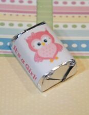 60 Baby Shower It's a Girl Pink Owl Hershey Candy Nugget Wrappers Stickers