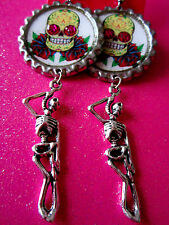 Day Of The Dead Sugar Skull With Skeleton Dangle Charm Earrings #24