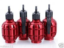 Grenade Red Air Car Wheel Tyre Valve Dust Caps Covers Tire New  Set of 4