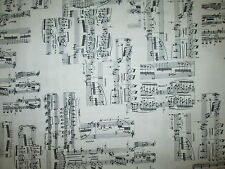 MUSIC NOTES LINES UP DOWN BLACK WHITE BACKGROUND COTTON FABRIC FQ