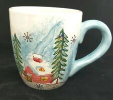 Trisa Large Coffee Mug Cup Winter Cabin Cottage House Snow Christmas Trees 24 oz
