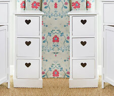 Pair Bedside Units White 3 Drawer Heart Cutout Chest Cabinets Side Table x2
