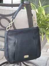 MICHAEL KORS HALLIE LARGE CONVERTIBLE SHOULDER BAG CROSSBODY BLACK LEATHER $348