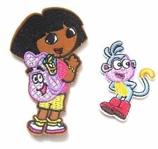 2pcs Dora The Explorer Iron On Patches- Embroidered TV Character Badge Crafts