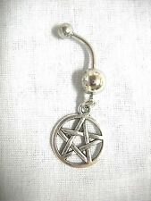 NEW WICCAN 5 POINT WOVEN PENTACLE STAR CHARM ON DBL CLEAR CZ BAR BELLY RING