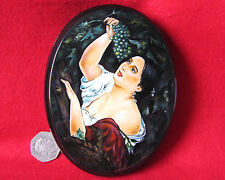 "Russian hand painted LACQUER Box K.Brulloff papier mache ""Italian Midday"" signed"