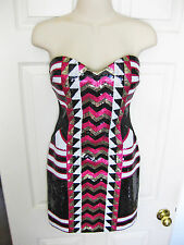 BEBE BLACK GOLD PINK WHITE SWEETHEART SEQUIN MESH STRAPLESS DRESS NEW MEDIUM M