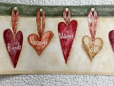 Hanging Hearts Welcome/Love/Friends/Blessings Wallpaper Border