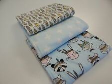 Tribal Badgers Foxes Bunnies Feathers - Blue Burp Cloths x 3 Towelling Backed