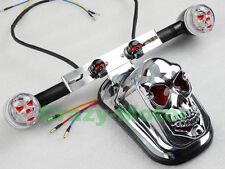 Chrome Skull Fender Tail Light LED Turn Signal For Suzuki Kawasaki Honda Yamaha