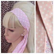 PALE PINK WHITE POLKA DOT SPOTTY COTTON HEAD HAIR BAND SELF TIE BOW 50s RETRO