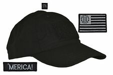 USA MADE! Black Tactical Operator Hat w/ 3 Percenter Flag Three 3 pc Patch Set