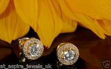 2.00CT ROUND DIAMOND ANTIQUE BRIDAL STUD EARRINGS IN 14CT SOLID YELLOW GOLD