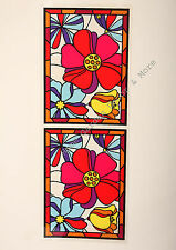"24.4"" x 9"" Tropical Flowers Stained Glass Window Film Sticker Decal Peel & Stick"