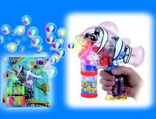 LIGHT UP SEE THROUGH CLOWN FISH BUBBLE GUN WITH SOUND toy bottle maker machine
